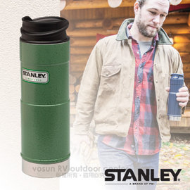 【美國 STANLEY】Classic經典系列 單手保溫咖啡杯.雙層不鏽鋼保溫瓶0.47L.保溫水壺.保溫杯.單手杯/ 304食用不鏽鋼/ 10-01394 錘紋綠