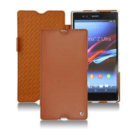 棕色「 Sony Xperia Z Ultra」Xperia ZU C6802 專用皮套 可放充電座充 保護套 保護殼 手工訂製  法國NOREVE頂級手機皮套  推薦 專賣店