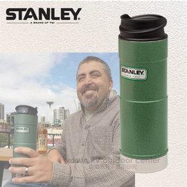 【美國 STANLEY】Classic經典系列 單手保溫咖啡杯.雙層不鏽鋼保溫瓶0.35L.保溫水壺.暖水瓶.保溫杯.單手杯/ 304不鏽鋼/ 10-01569 錘紋綠