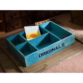 zakka 精品生活雜貨 歐洲鄉村風 ORIGINALS 5格置物木盒 桌上分格收納整理盒 置物木盒 5格收納盒 展示盒 4901001