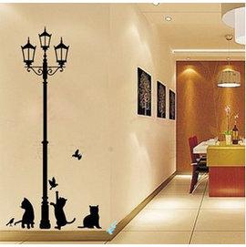 街燈下的小黑貓 第三代可移除牆貼~可重覆撕貼! 大型客廳電視牆沙發背景/壁貼/壁紙牆紙