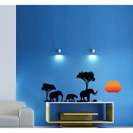 野性非洲之大象 第三代可移除牆貼~可重覆撕貼! 大型客廳電視牆沙發背景/壁貼/壁紙牆紙