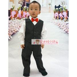 B15 兒童條紋西服四件套 男花童西裝 背心 襯衫 長褲 紅領結 ~愛米粒~