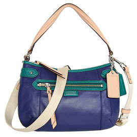 COACH 23951 蓝绿全皮拼接肩背/斜背休闲小包