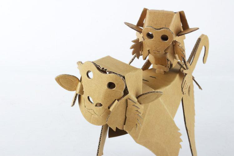 纸箱王动物园 - 台湾猕猴 - 瓦楞纸拼图/仿木片拼图
