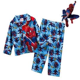 出口美國SPIDERMAN蜘蛛人WOOSH^!印花款絨布印花長袖睡衣套裝^(95CM ^)