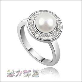 ^~ ^~ 魅力部屋 ^~ ^~ 奧地利珍珠戒指~俏皮公主^(白色^)012060508