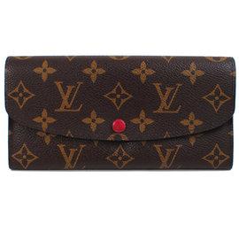 ~9成新~Louis Vuitton LV M60136 EMILIE 花紋扣式拉鍊零錢長
