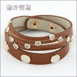 ^~ ^~ 魅力部屋 ^~ ^~  淑女百搭合金水鑽雙層皮質手鍊^(咖啡^)1103011