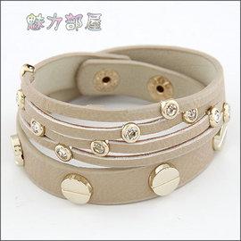 ^~ ^~ 魅力部屋 ^~ ^~  淑女百搭合金水鑽雙層皮質手鍊110301109