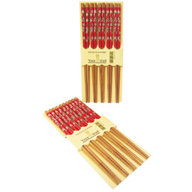 竹物語紅底小花竹筷-10雙入 -6組