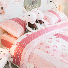 小小碎花鄉村風 雙人床包薄被套四件組 100^%精梳棉  製