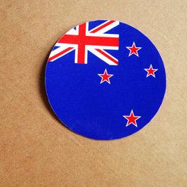 ~衝浪小胖~紐西蘭國旗圓形抗UV、防水貼紙╱New Zealand╱世界多國款可蒐集和客製