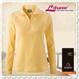 【意都美 Litume】女款 Polartec Classic Micro立領類羊毛透氣輕量保暖長袖排汗衣(可機洗)/薄刷毛休閒衫/抗菌抗靜電 /P9153 鵝黃