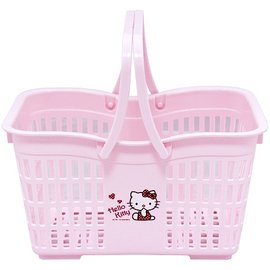 ~玫瑰物語~防水塑膠Hello Kitty置物籃愛心粉紅色貴婦浴室t廚房手提籃買菜籃瀝水藍