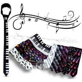 童衣圓~R016~R16音樂領帶 音符 樂譜 鍵盤 吉他 緞面 亮面 窄版 細版 手打 襯