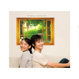 開一扇窗~綠蔭公園 第三代可移除牆貼~可重覆撕貼! 臥室飯廳客廳電視牆沙發背景/壁貼/壁紙牆紙