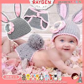 手工毛線針織花朵灰色兔耳帽+毛線包屁褲套裝/寶寶造型帽【HH婦幼館】
