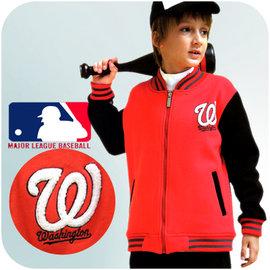 美國職棒大聯盟MLB 國民隊棒球外套 棉質刷毛布底 外套 棒球迷的最愛  貨 官方 鐳射標