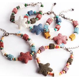波西米亞風 手工火山幸運石手鍊  糖果色海星原石手環