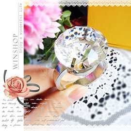 【Q禮品】A1809 150克拉水晶大鑽戒-直徑3cm/可刻字/超大鑽戒/求婚告白/情人節禮物/婚禮小物/婚紗攝影