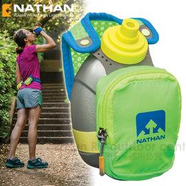 【美國 Nathan】Quickshot Plus 立式手握運動包(含運動水壺)隨身包.手拿壺.適馬拉松 跑步 郊遊.跑步.反光條_NA4836NEB 綠 (非跑步腰包)
