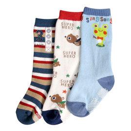 ^~韓風童品^~ 款^(3雙 組^)男寶寶卡通圖案防滑中筒襪 兒童純棉襪 青蛙 魚圖案 防