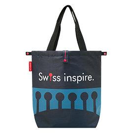 MONDAINE 瑞士國鐵摺疊肩背包~瑞士拱橋^(藍^)