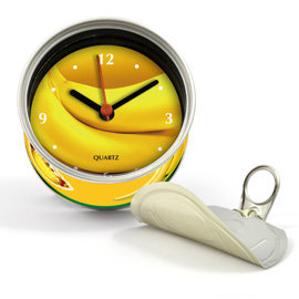 買一送一! 打開罐頭是時鐘 香蕉 罐頭造形 磁鐵時鐘 也可立於桌上