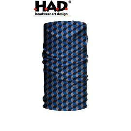 探險家戶外用品㊣HA110-0114 德國製HAD多功能頭巾 藍立體方塊 魔術頭巾 重機瑜珈街舞單車