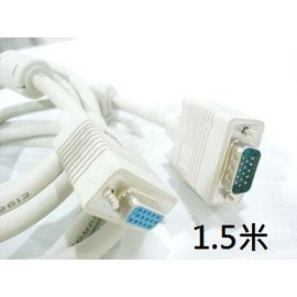 (帶磁環) VGA 公轉母 3+4線芯 電腦/螢幕/電視/投影機 延長線/傳輸線/訊號線/螢幕線 (1.5米/1.5M)