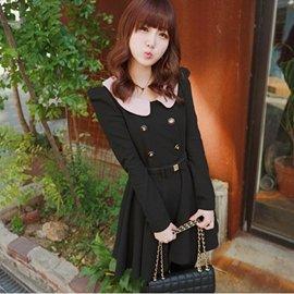 ∮Cindy Lee∮~DBL018~ 韓 甜美 粉領 雙排扣 修身 大裙擺 連身裙 韓洋