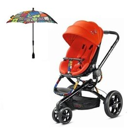 【紫貝殼●店面更優惠】『GAA05』【限量版彩框支架】荷蘭 Quinny Moodd Britto 時尚氣壓式雙向手推車(彩框紅)+原廠Quinny遮陽傘