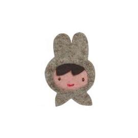 ~童心樂園~美國 Giddygiddy可愛 髮夾~Miss Rabbit灰兔小姐