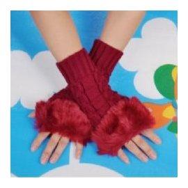 保暖仿兔毛針織手套 毛毛露指手套 毛線手套^(紅色^)~艾發現