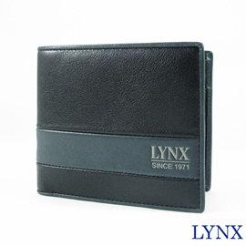 ~Lynx~ 雙色拼接男仕短夾^(右上翻夾層^) LY16~282~99