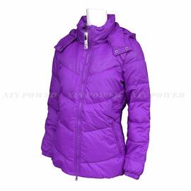 Adidas~女 防風 保暖 輕柔 可拆帽 羽絨外套-紫 (G69625)