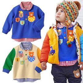 小熊圖案格紋襯衫領 長袖上衣 80~120公分  250元