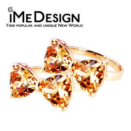 ~iMe Design~正韓 名媛 摯愛 精緻 粉橘 水晶 玫瑰金 戒指