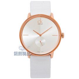 ~錶飾 ~CK錶 CK手錶 凱文克萊 K2Y216K6~大 極簡優雅銀 白面玫瑰金框白皮帶