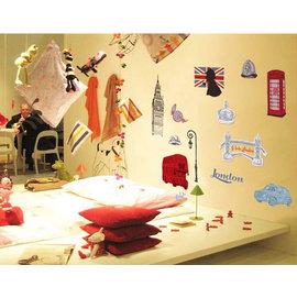 浪漫歐旅系列 英國個性建築 第三代可移除牆貼~可重覆撕貼! 大型客廳電視牆沙發背景/壁貼/壁紙牆紙