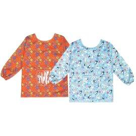 【玫瑰物语】欢乐儿童围裙橘色水蓝色长袖围裙美术劳作画划衣写书法卡通幼稚园吃饭围裙