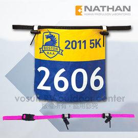 【美國 NATHAN】輕量號碼帶/號碼補給帶.彈性腰帶.號碼布夾.路跑.自行車.三鐵 穿式_桃紅 NA1124NFF