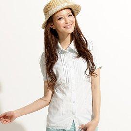 【EverSmile】公主袖蕾絲邊有機棉彈性襯衫(淺藍)