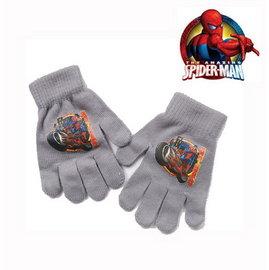 出口歐洲SPIDERMAN蜘蛛人灰色摩托車款針織無棉絮毛線手套^(3^~7歲 ^)禦寒