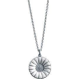 Georg Jensen喬治傑生 DAISY系列 純銀鍍銠鍊墜鑲嵌白色琺瑯^(1.8cm^
