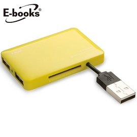 E~books T18 多合一讀卡機 USB 2.0 三埠USB集線器 黃