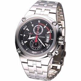 ◤㊣超值搶購↘原售價6900◢CITIZEN OXY 競速風潮三眼計時腕錶(黑/紅秒針)_45mm_AN3450-50E