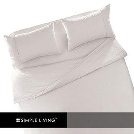 素色300織紗精梳棉三件式雙人加大床包組-白色 Simple Living 素色系列
