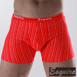 ~Esquire~銀纖維男性細紋平口內褲^(紅色三件組^)